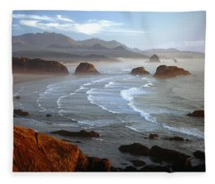 Cannon Beach At Sunset Fleece Blanket