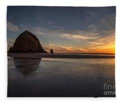 Cannon Beach Dusk Conclusion Fleece Blanket