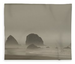 Cannon Beach In A Fog Oregon Fleece Blanket