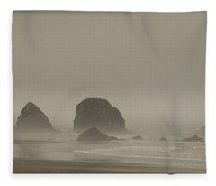 Cannon Beach In A Fog Oregon Fleece Blanket
