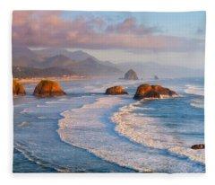 Cannon Beach Sunset Fleece Blanket
