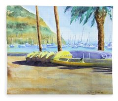 Canoes And Surfboards In The Morning Light - Catalina Fleece Blanket