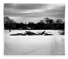 Canoes In The Snow - Monochrome Fleece Blanket