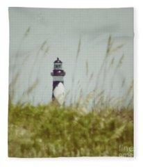 Cape Lookout Lighthouse - Vintage Fleece Blanket