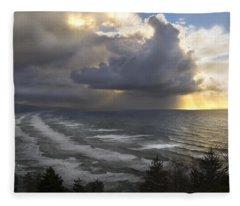 Sunset At Cape Lookout Oregon Coast Fleece Blanket