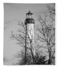 Cape May Light B/w Fleece Blanket