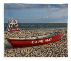 Cape May N J Rescue Boat Fleece Blanket