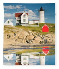 Cape Neddick Light  Reflections Fleece Blanket