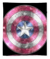 Captain America Shield Digital Painting Fleece Blanket