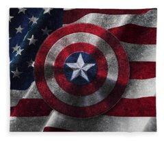 Captain America Shield On Usa Flag Fleece Blanket