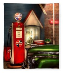 Car - Station - White Flash Gasoline Fleece Blanket
