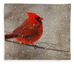 Cardinal In Snow Fleece Blanket