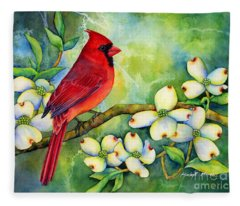 Cardinal On Dogwood Fleece Blanket