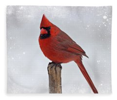 Cardinal Perching Fleece Blanket