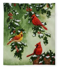 Cardinals And Holly - Version With Snow Fleece Blanket