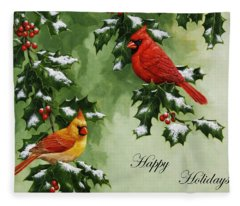 Cardinals Holiday Card - Version With Snow Fleece Blanket