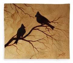 Cardinals Silhouettes Coffee Painting Fleece Blanket