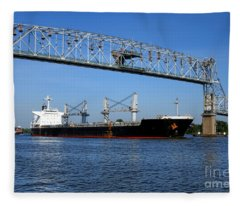 Cargo Ship Under Bridge Fleece Blanket