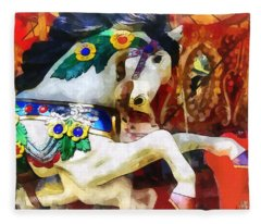 Carousel Horse Closeup Fleece Blanket