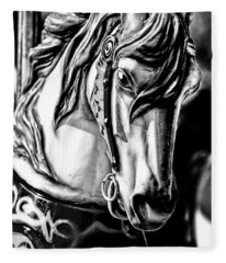 Carousel Horse Two - Bw Fleece Blanket