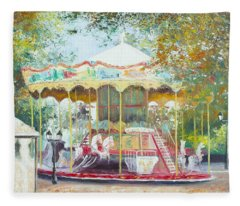 Carousel In Montmartre Paris Fleece Blanket