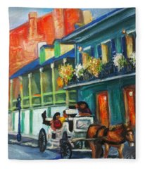 Carriage Ride On Dumaine Street Fleece Blanket