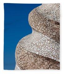 Casa Mila Abstract Chimney Detail In Barcelona Fleece Blanket
