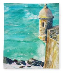Castillo De San Cristobal Ocean Sentry  Fleece Blanket