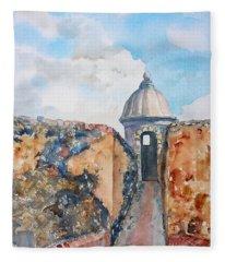 Castillo De San Cristobal Sentry Door Fleece Blanket