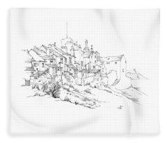 Castletown Coastal Houses Fleece Blanket
