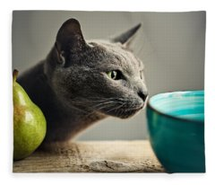 Cat And Pears Fleece Blanket