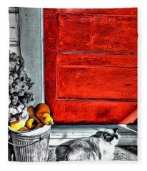 Cat By The Red Door Fleece Blanket