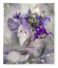 Cat In Easter Lilac Hat Fleece Blanket