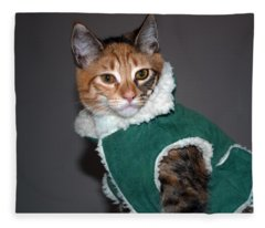 Cat In Patrick's Coat Fleece Blanket