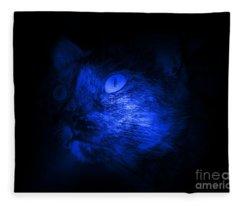 Cat Face In Blue Black Fleece Blanket