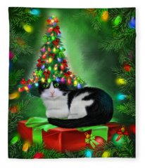 Fleece Blanket featuring the mixed media Cat In Xmas Tree Hat by Carol Cavalaris