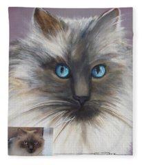 Cat Portraiture 1  Fleece Blanket