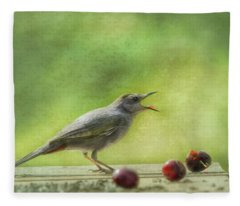 Catbird Eating Cherries Fleece Blanket