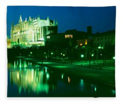 Cathedral Lit Up At Night, Palma Fleece Blanket