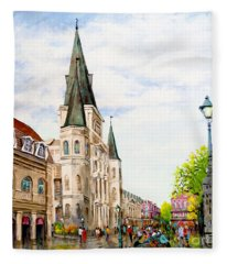 Cathedral Plaza - Jackson Square, French Quarter Fleece Blanket