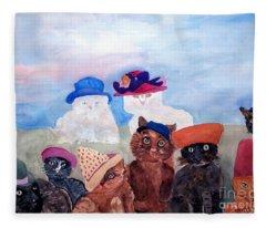Cats In Hats Fleece Blanket