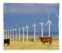Cattle And Windmills In Alberta Canada Fleece Blanket