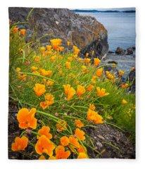 Cattle Point Poppies Fleece Blanket