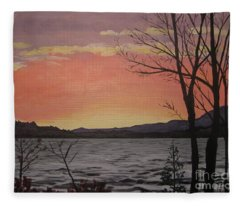 Caucomgomoc Lake Sunset In Maine Fleece Blanket