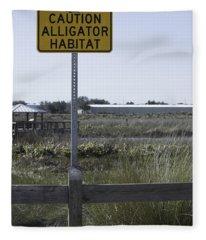 Caution Alligator Habitat Fleece Blanket