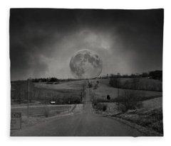 Caution Beautiful Moon Rise Ahead Fleece Blanket