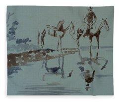 Cautious Creek Crossing Fleece Blanket