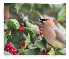 Cedar Waxwing In Holly Tree Fleece Blanket