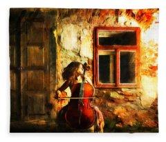 Cellist By Night Fleece Blanket
