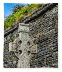 Celtic Cross At Kilmurry-ibrickan Church Fleece Blanket
